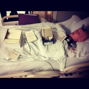 Ian functioned as my desk one day while I worked on invitations at the hospital! Clearly, he just loved it.